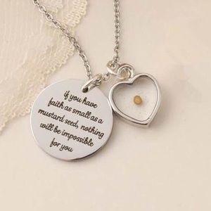 Matthew 17:20 Scripture mustard seed necklace NEW